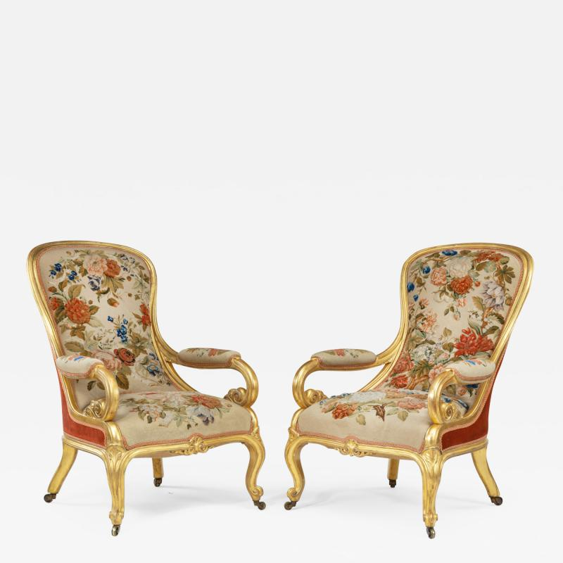 Gillows of Lancaster London Pair of Victorian gilt wood and needlework arm chairs by Gillows