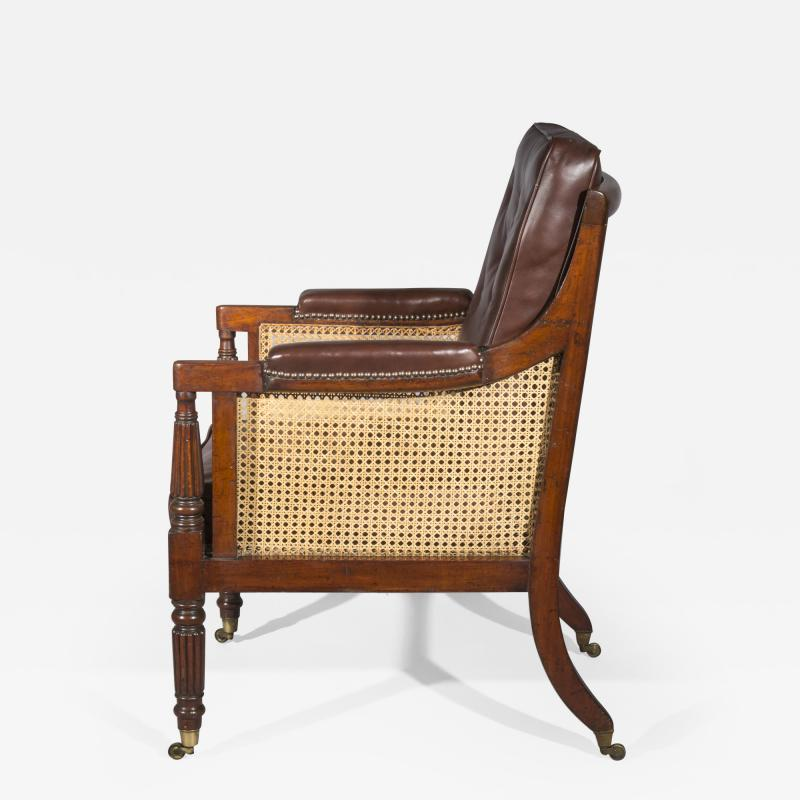 Gillows of Lancaster London Regency Mahogany Caned Bergere Armchair attributed to Gillows
