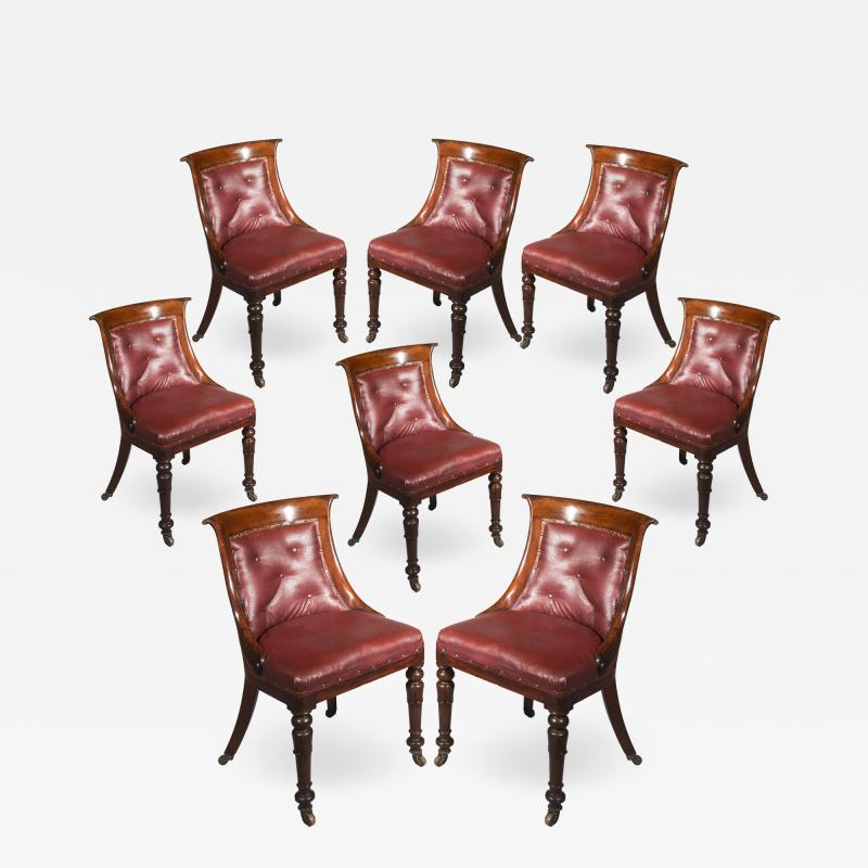 Gillows of Lancaster London Regency Set of Eight Gondola Tub Chairs in Old Leather