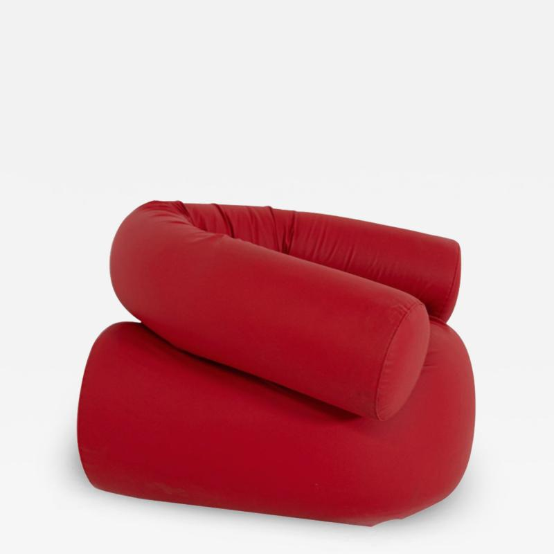 Giovanni Gismondi Contemporary Italian Armchair by Giovanni Grismondi Design Red Leather 2020