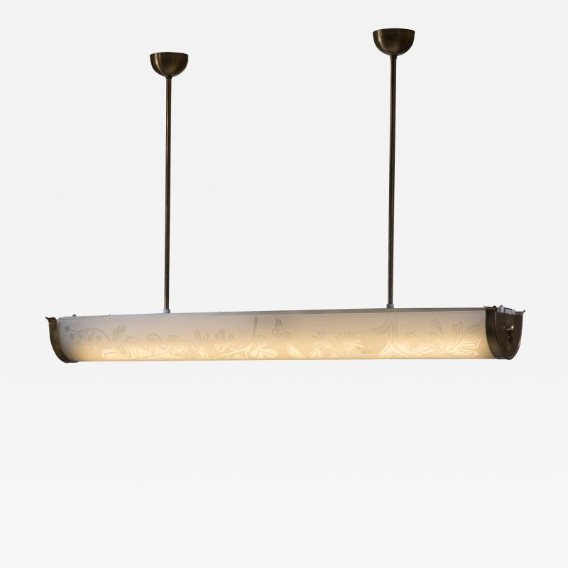 Gl ssner Gl ssner tube ceiling lamp with a botanic motif