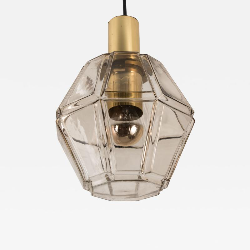 Glash tte Limburg Geometric Brass and Clear Glass Pendant Light by Limburg 1970s