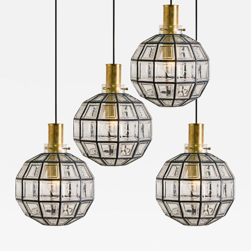 Glash tte Limburg One of the Four Large Iron and Clear Glass Light Fixtures by Limburg circa 1965