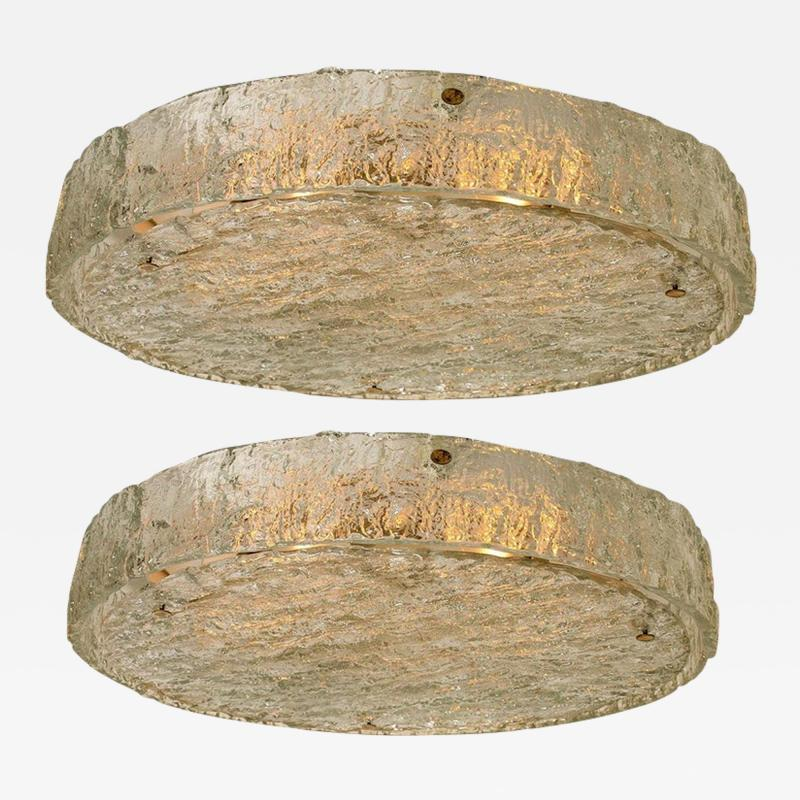 Glash tte Limburg Pair of Extra Large Textured Glass Flushmounts by Kaiser 1960s