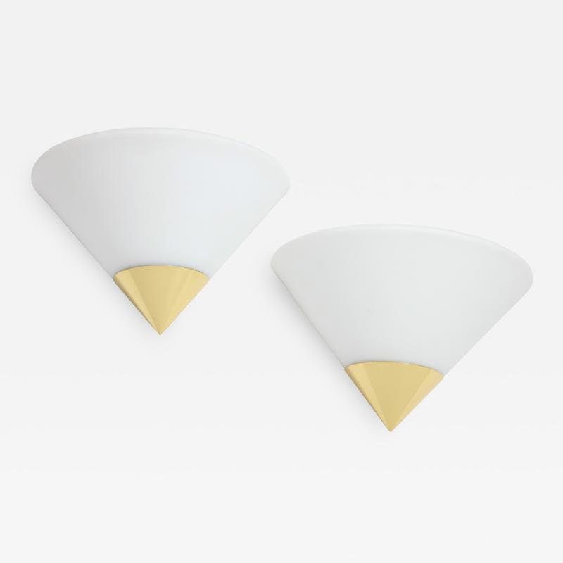 Glash tte Limburg Pair of Glass and Brass Demi Lune Sconces by Limburg