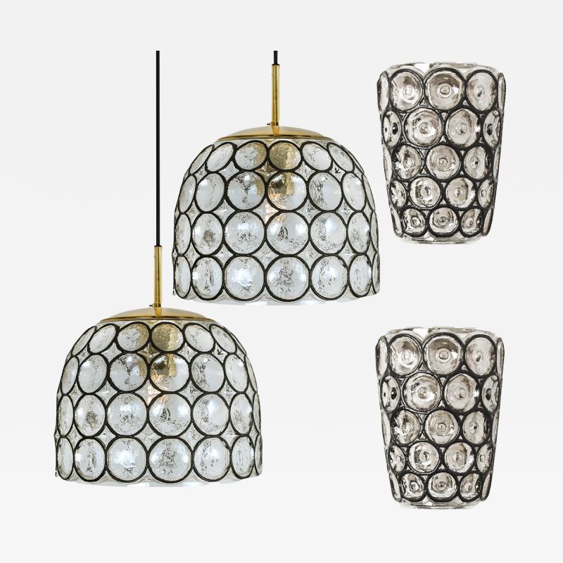 Glash tte Limburg Set of Four Circle Iron and Bubble Glass Sconces Light Fixtures Glash tte 1960