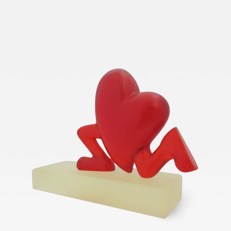 Glenn Green Galleries Running Heart red resin