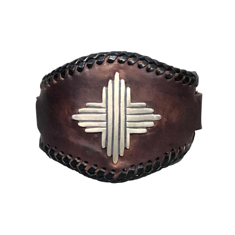 Glenn Green Galleries Silver Sun leather cuff bracelet