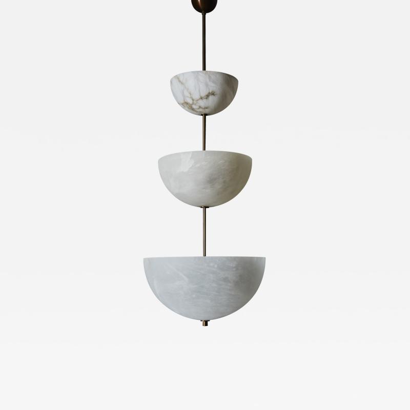 Glustin Luminaires Alabaster Half Spheres Vertical Suspension by Glustin Luminaires