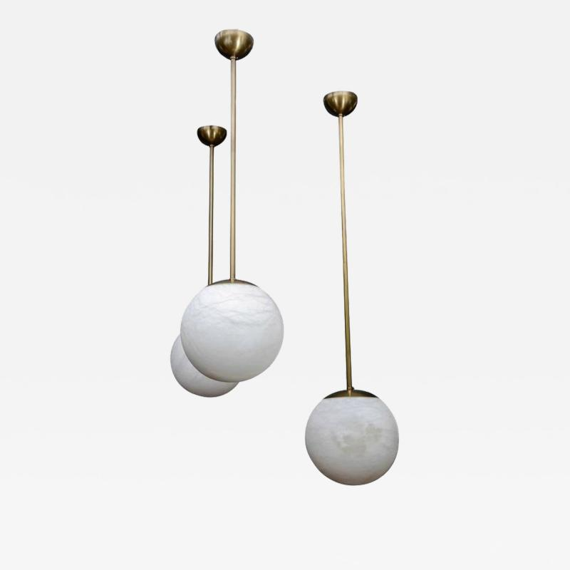 Glustin Luminaires Alabaster and Brass Globes Pendant