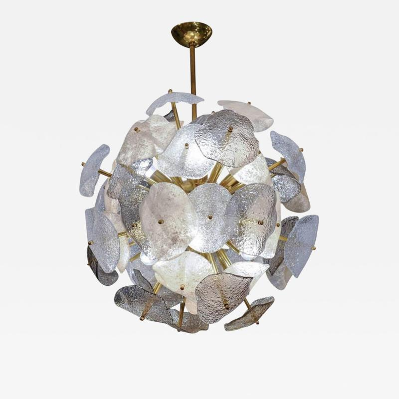Glustin Luminaires Brass Sphere with Murano Glass Leaves Chandelier