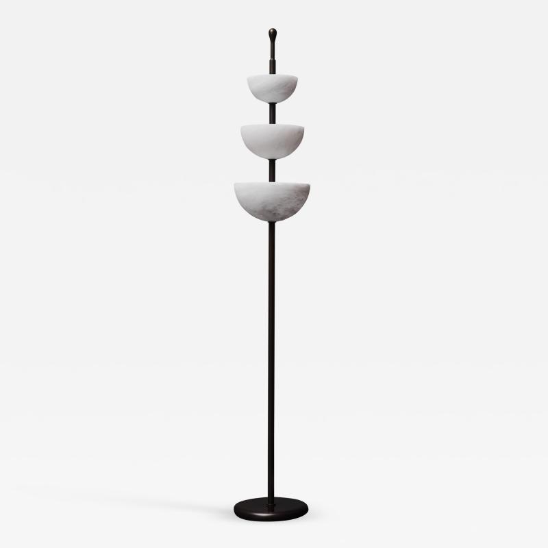 Glustin Luminaires Brass and Alabaster Cups Floor Lamp by Glustin Luminaires