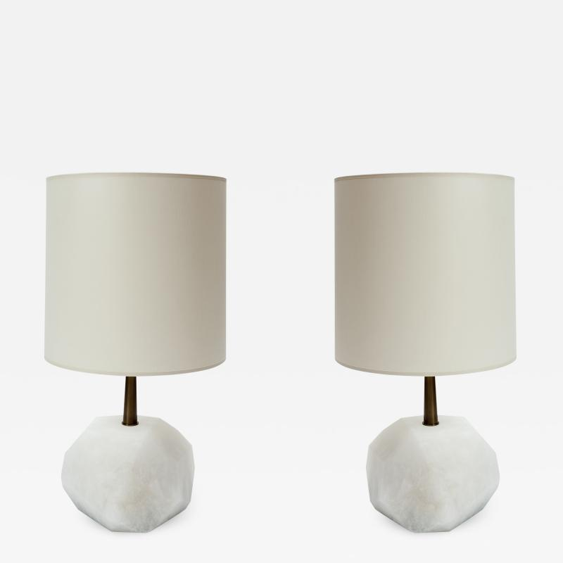 Glustin Luminaires Glustin Luminaires Alabaster Monolith Faceted Table Lamps
