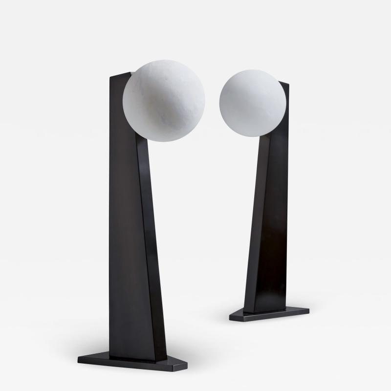 Glustin Luminaires Glustin Luminaires Asymmetrical Brass Table Lamp with alabaster Globe