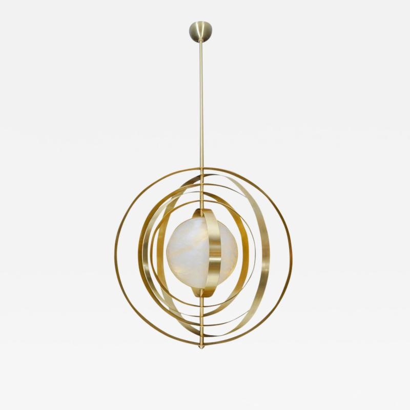 Glustin Luminaires Glustin Luminaires Creation Alabaster Suspension with Brass Rings