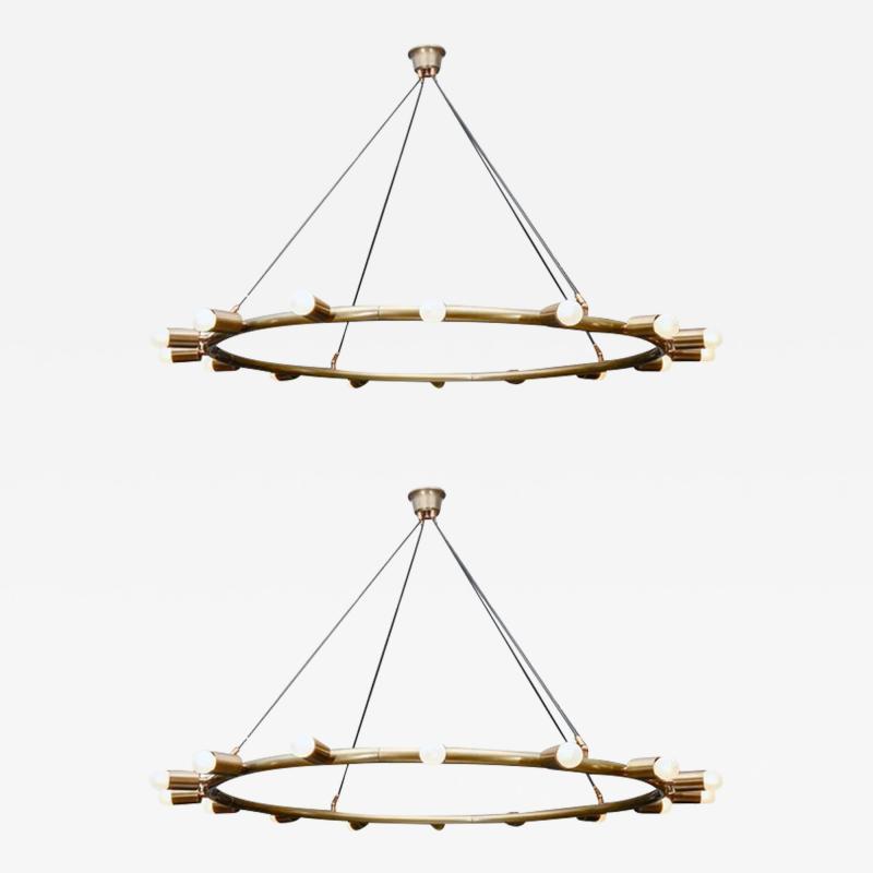 Glustin Luminaires Glustin Luminaires Creation Brass Hoop Chandeliers