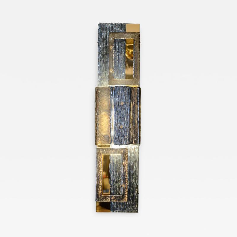 Glustin Luminaires Glustin Luminaires Creation Brass and Murano Glass Panels