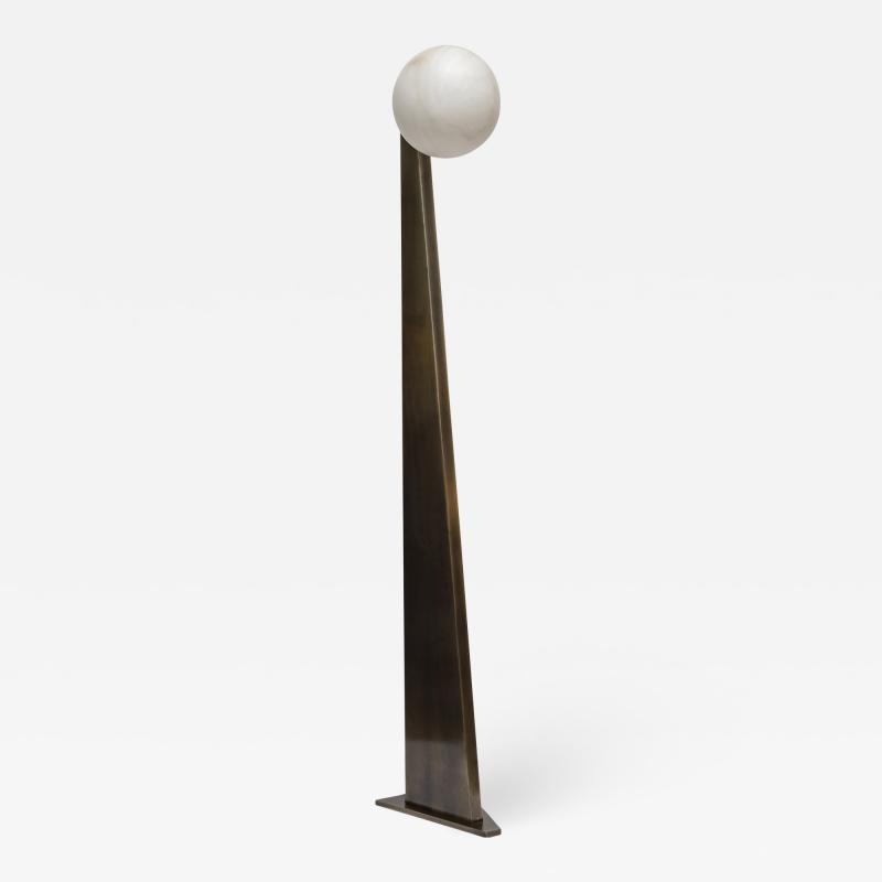 Glustin Luminaires Glustin Luminaires Creation Floor Lamp in Brass with Alabaster Globe