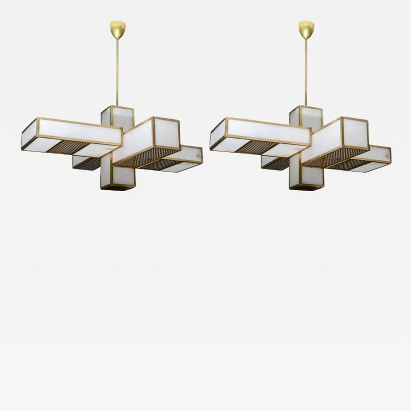 Glustin Luminaires Glustin Luminaires Creation Geometrical Brass and Alabaster Chandeliers