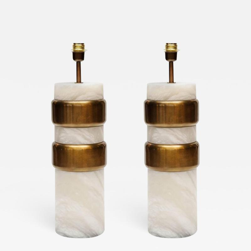 Glustin Luminaires Glustin Luminaires Creation Pair of Alabaster Lamps with Brass Rings