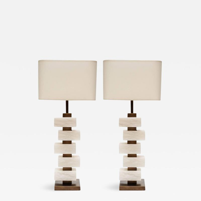 Glustin Luminaires Glustin Luminaires Creation Pair of Brass and Alabaster Bricks Table Lamps