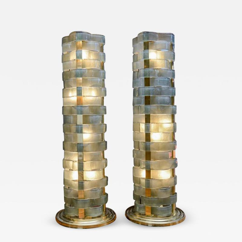 Glustin Luminaires Glustin Luminaires Creation Short Floor Lamps with Murano Ribbons