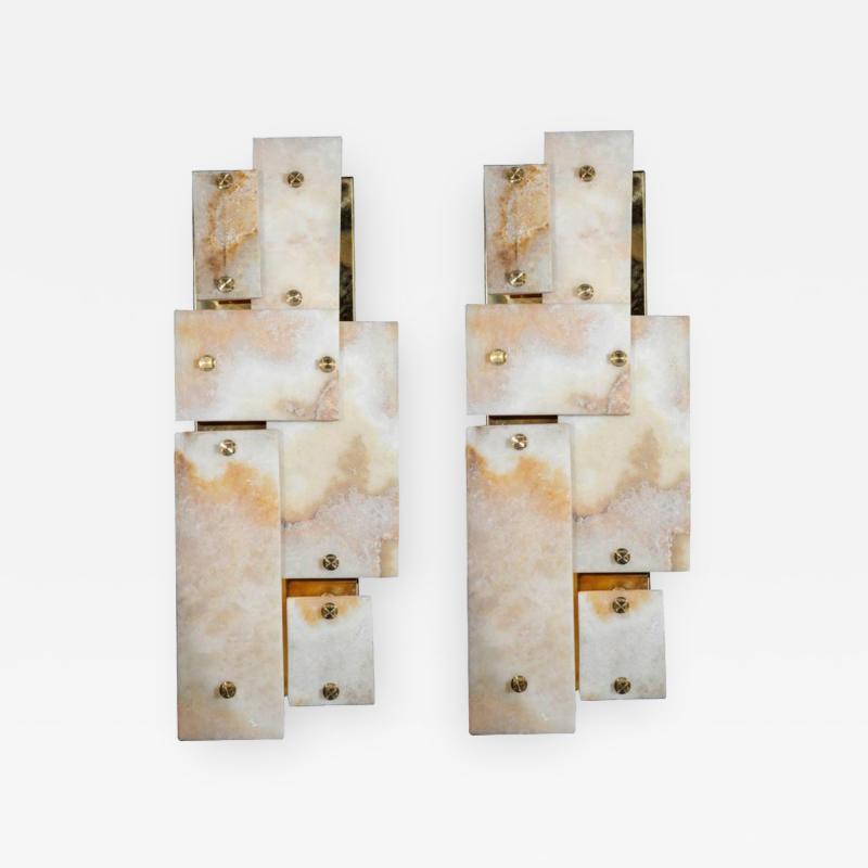 Glustin Luminaires Pair of Glustin Luminaires Creation Brass and Marble Wall Sconces