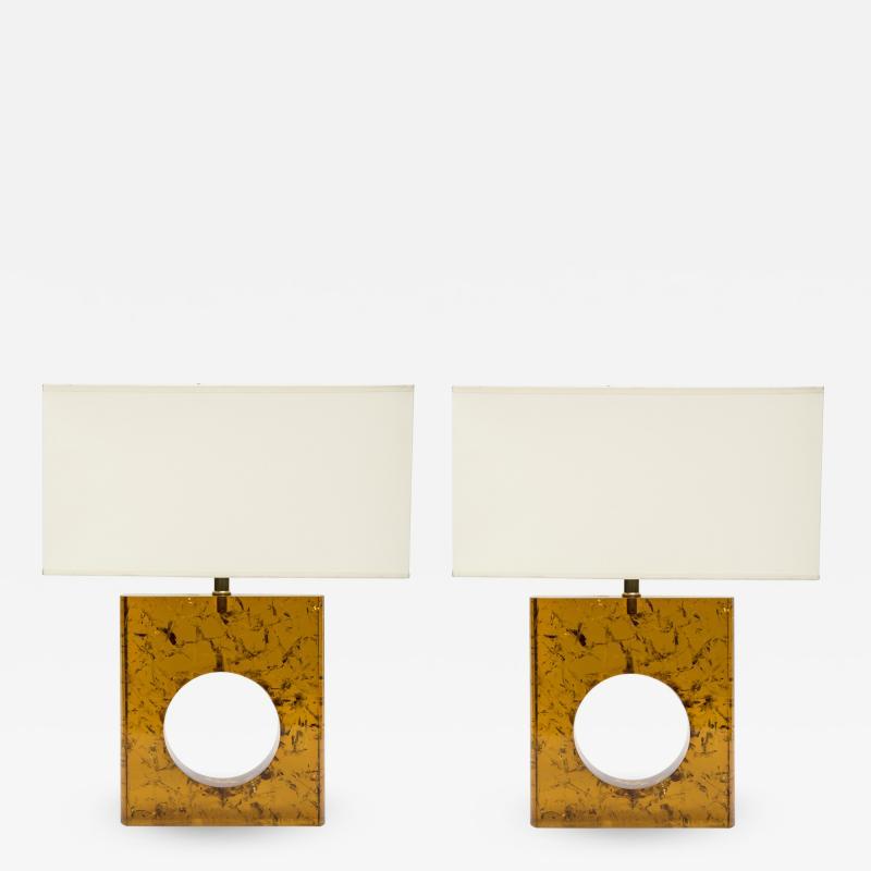 Glustin Luminaires Pair of Orange Fractal Resin Square Table Lamps