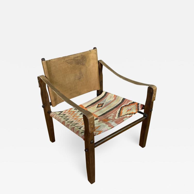 Gold Medal Mid Century Gold Medal Safari Chair Turkish Kilim Seating