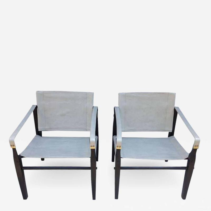 Gold Medal Pair of 1950s Grey Leather Goldmedal Chair Co Chairs Styel Kare Klimt