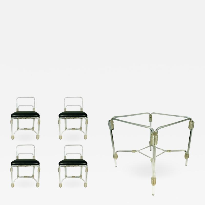 Grosfeld House 1940s Lucite Dining Table with Four Chairs by Grosfeld