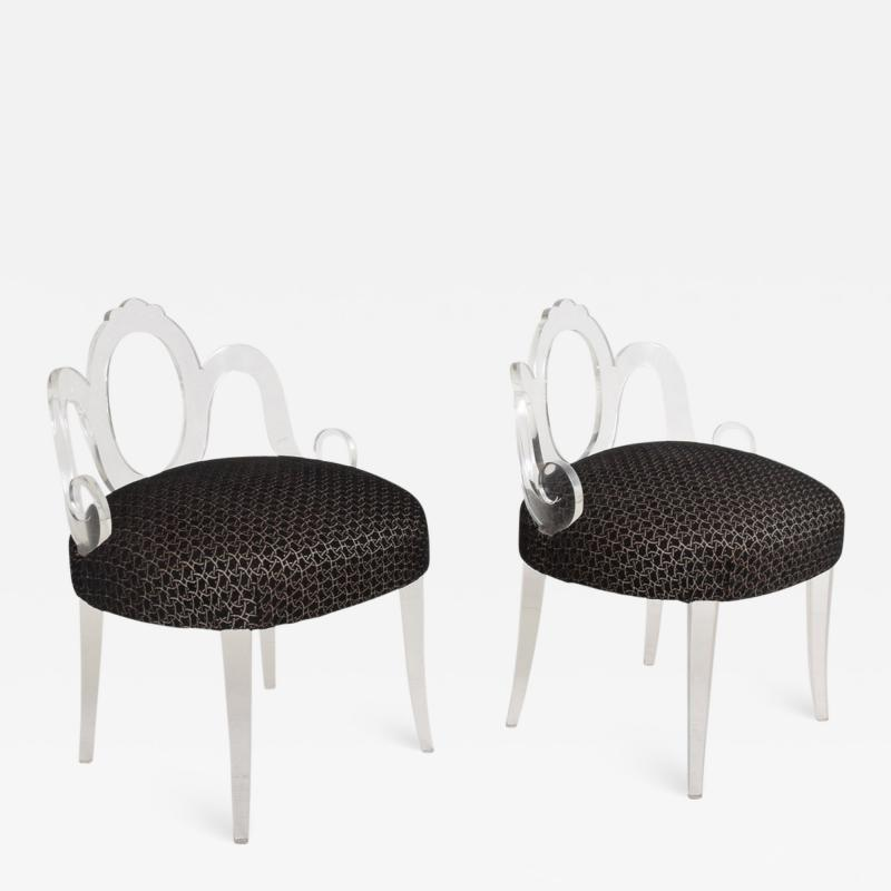 Grosfeld House Hollywood Regency Glamour Pair of Lucite Side Chairs by GROSFELD HOUSE 1940s
