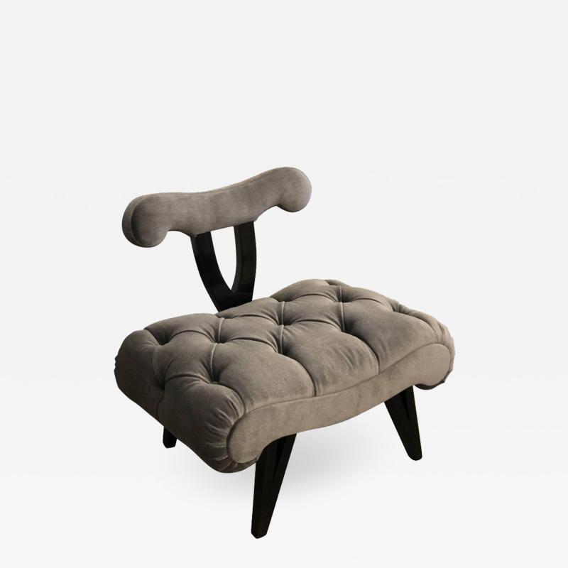 Grosfeld House Hollywood Regency Grosfeld House Tufted Gray Mohair Ebonized Wood Slipper Chair