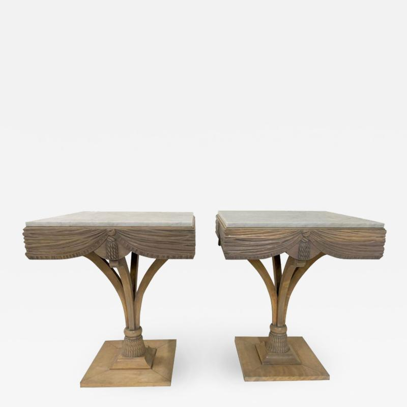 Grosfeld House Pair of Grosfeld House Plume Marble Top Side Tables