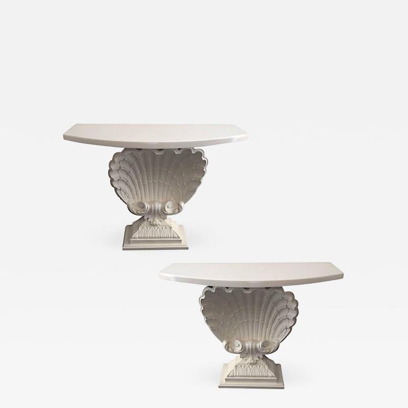 Grosfeld House Pair of Mid Century Shell For Console Table