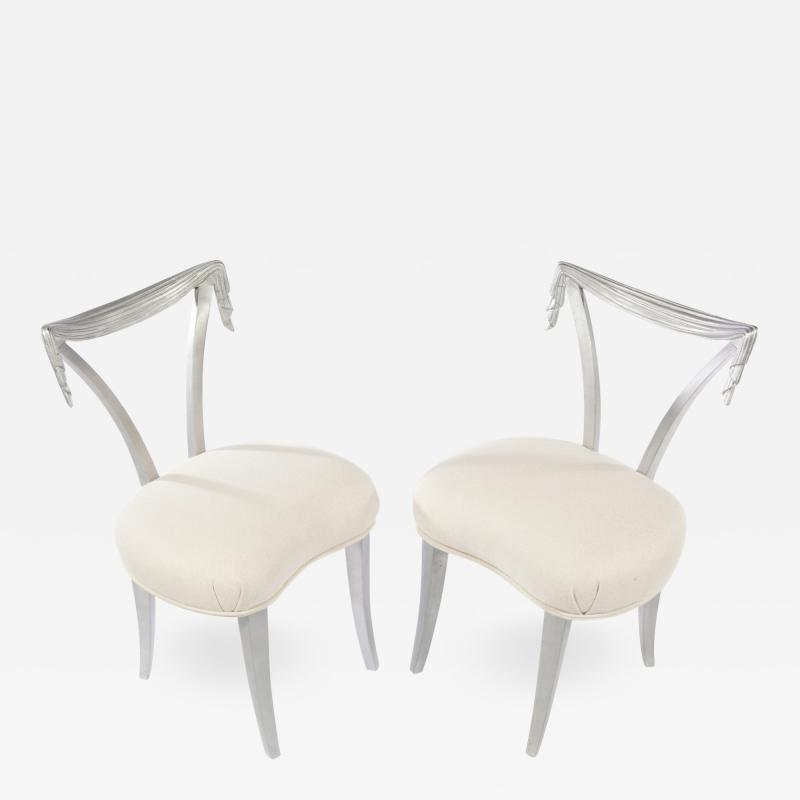 Grosfeld House Pair of Silvered Chairs by Grosfeld House