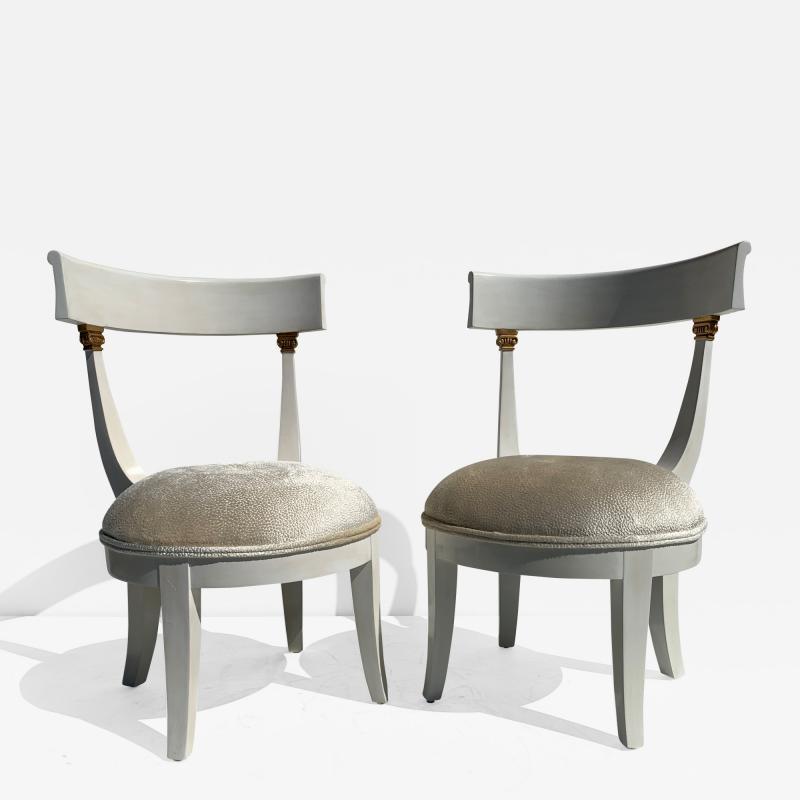 Grosfeld House Pair of Slipper Vanity Chairs