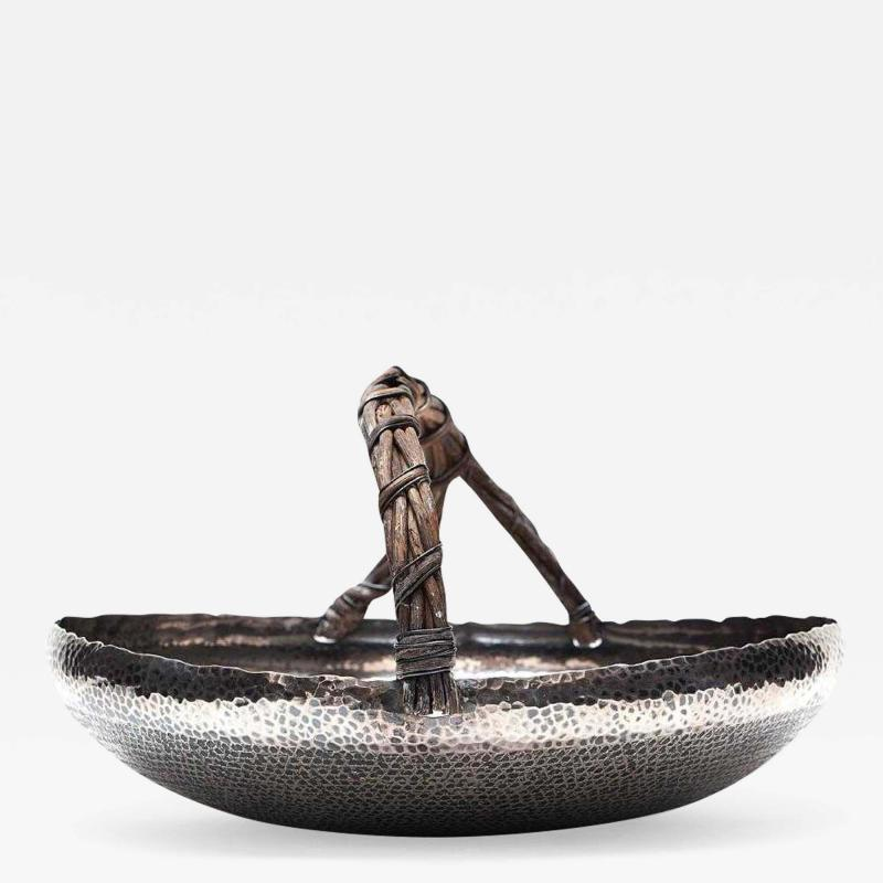GuMeiTang A Japanese Hammered Silver Basket Tray