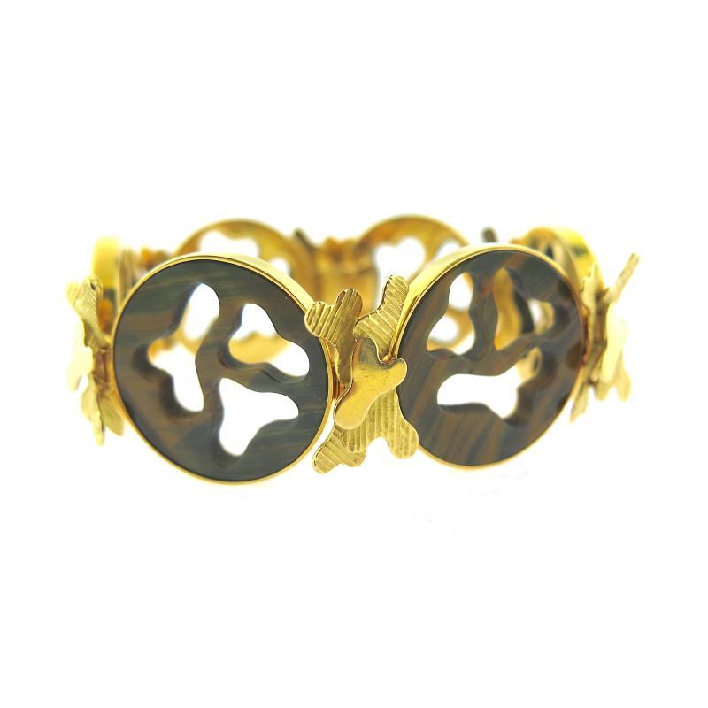 Gubelin Gubelin Carved Tiger s Eye Gold Bracelet
