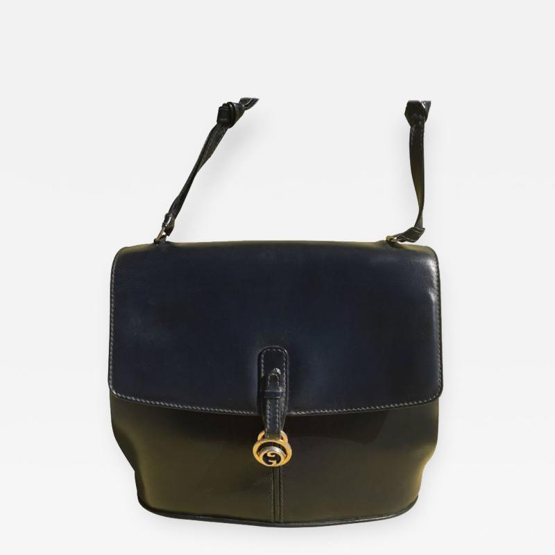 Gucci Dark Blue Gucci Double Shoulder Strap Bag