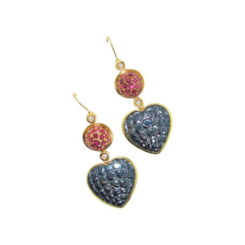 Gucci Gucci Gold and Ruby and Diamond Earrings