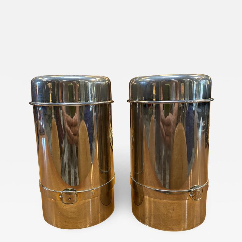 Gucci Pair of Two Gucci Silver Wine Ice Bucket Cooler Holder 1970s