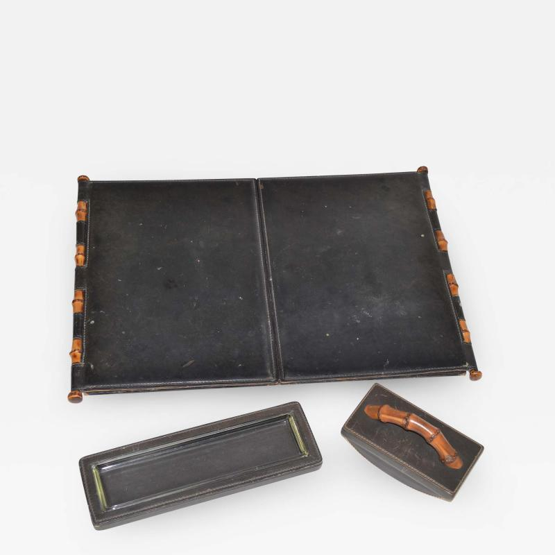 Gucci Vintage Gucci Desk Set in Black Leather and Wood