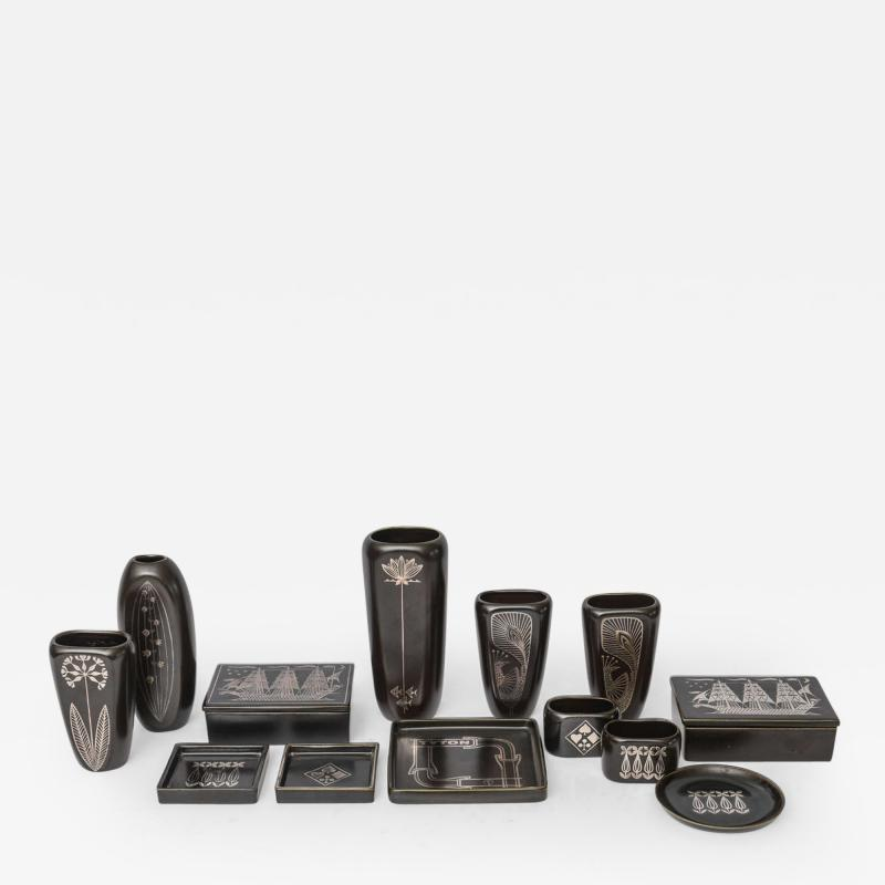 Gustavsberg Collection of Gustavsberg Argenta Ceramics in Black Glaze with Silver Inlay