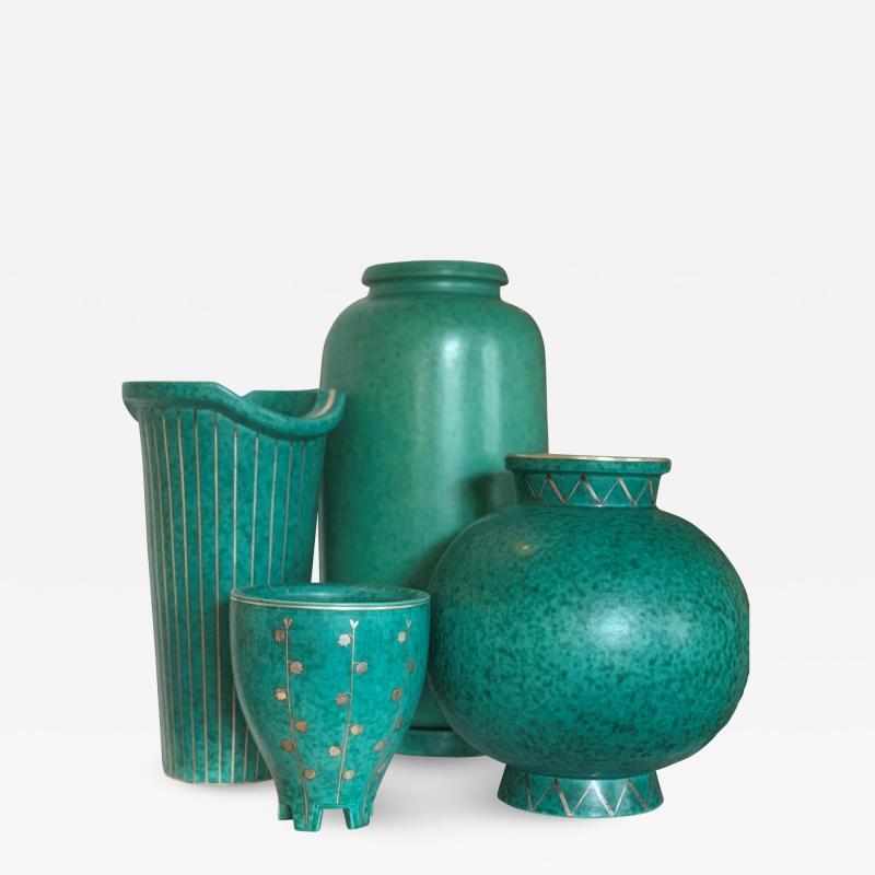 Gustavsberg Selection of Argenta Series Vases by Wilhelm Kage