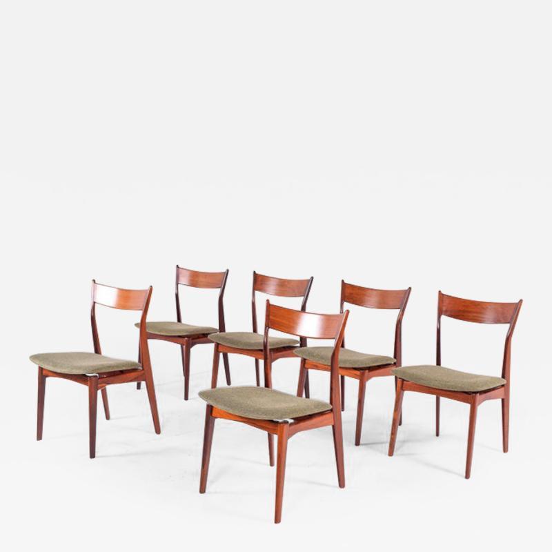 H P Hansen M belindustri Set of 6 Rosewood H P Hansen Dining Chairs for Randers