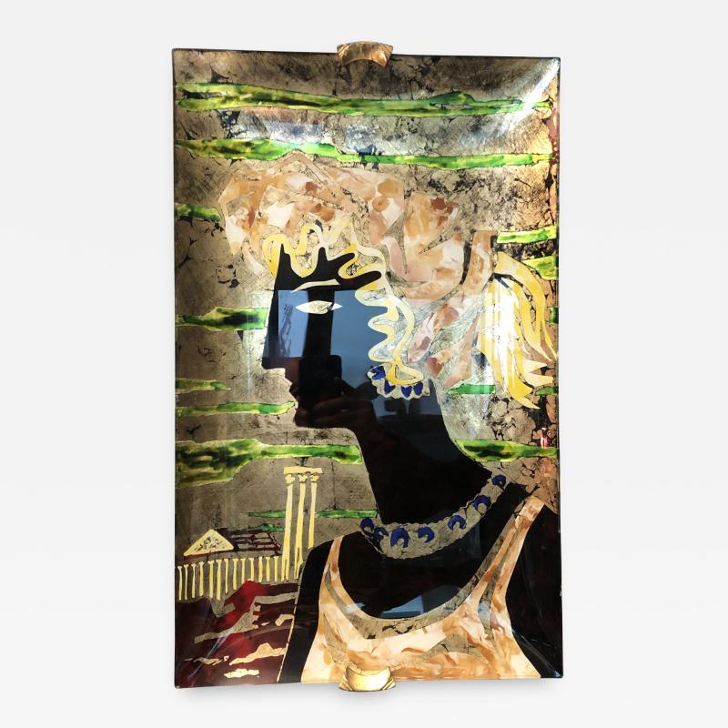 Haeti Reverse Painting on Curved Glass by Haeti for Santambrogio De Berti 1950