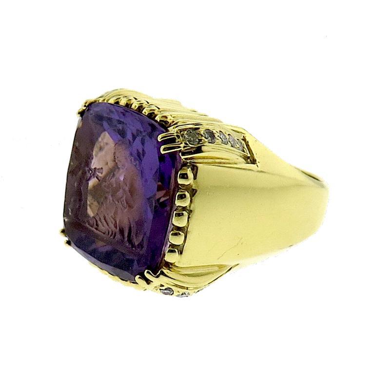 Hammerman Brothers Hammerman Intaglio Amethyst Gold Ring