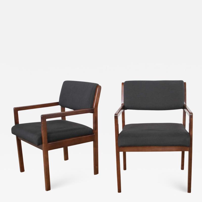 Haworth Modern pair black walnut tone wood accent or dining armchairs by haworth
