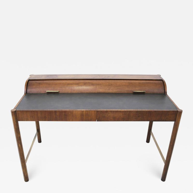 Hekman Furniture Company Hekman Walnut and Brass Roll Top Writing Desk